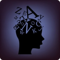 Brain with letters